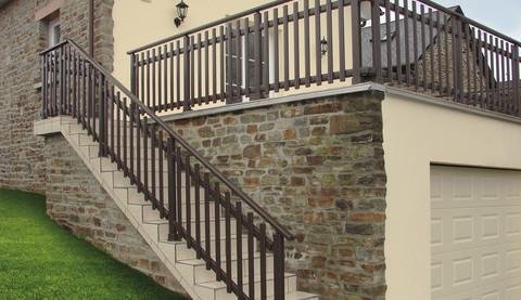 Rampes et garde corps alu escalier - terrasse SIB - EPMR