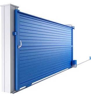 Portail coulissant bleu aluminium ajouré Profalux - EPMR